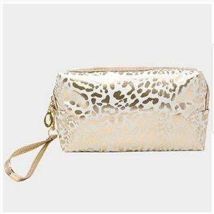 Handbags - White & Gold Leopard Print Bag